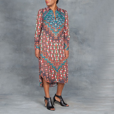 Mara Hoffman Bolnisi Rug Long Sleeve Shirt Dress