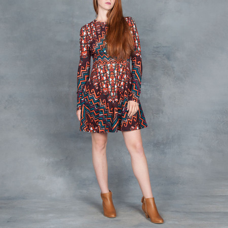 Mara Hoffman Mini Flare Long Sleeve Dress Bolnisi Orange