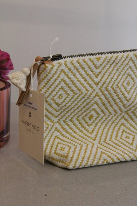 Mercado Global handwoven Cristina Cosmetic Pouch - Sunflower yellow