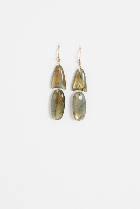TEN THOUSAND THINGS Tiny Labradorite Arrowhead Earrings - 18k Gold