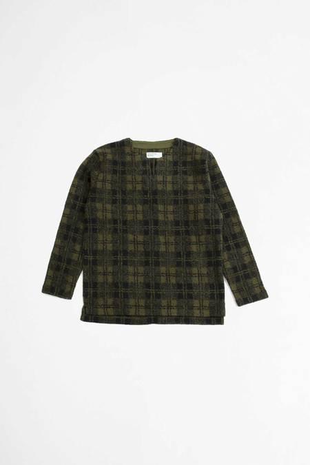 Universal Works Oversized Split Neck Wool Sherpa Fleece Sweater - Olive