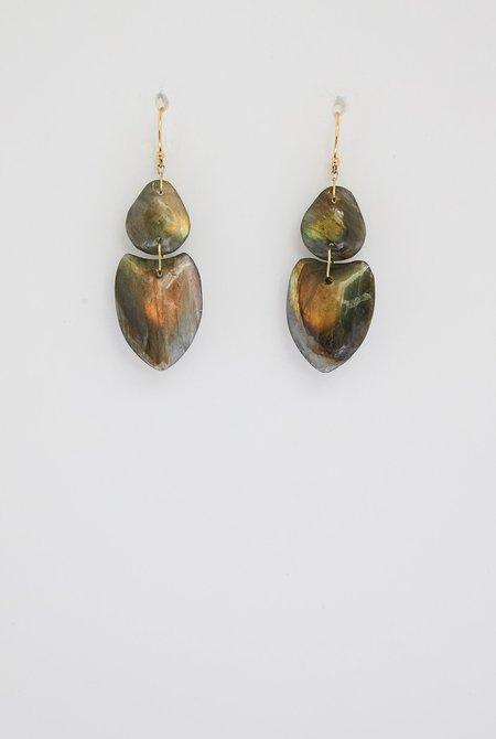 TEN THOUSAND THINGS Labradorite Double Heart Earrings - 18k gold
