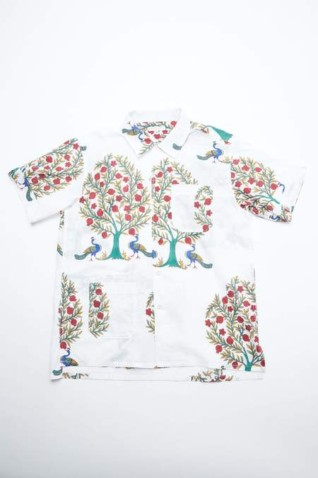 Engineered Garments Cotton Lawn Camp Shirt - Natural Peacock Print