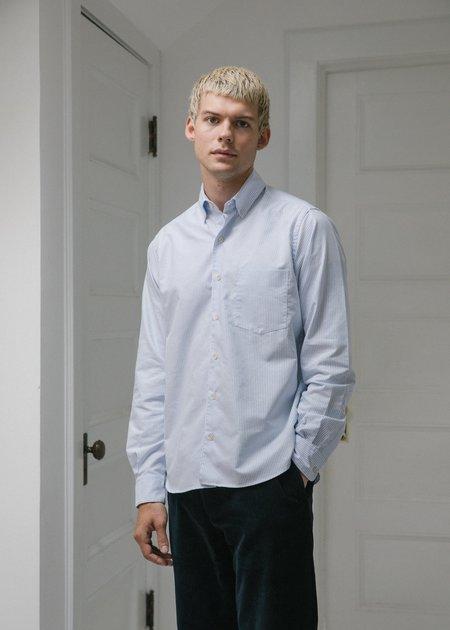 Steven Alan Single Needle Shirt - Blue Oxford Stripe