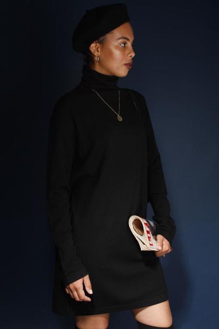 Olivaceous EDIE CASHMERE TURTLENECK MINI DRESS - black