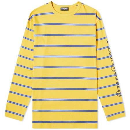 PLEASURES Scream Striped L/S Tshirt - Bright Blue