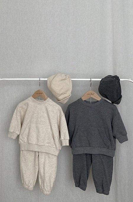 Kids Korean Collective Soft Jogger Sweatsuit - Charcoal