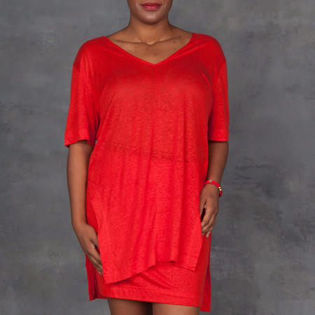 Osklen Red Linen V-neck with Skirt