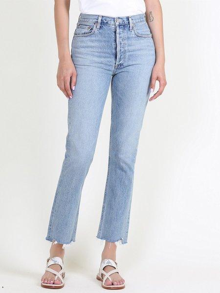AGOLDE Riley Hi Rise Straight Crop Jeans - Zephyr