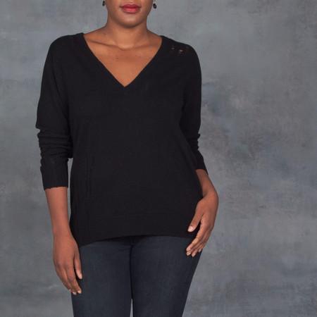Raquel Allegra Deep V-Neck Shred Sweater in Black