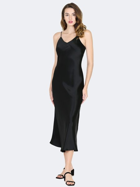 Sympathique Satin Slip Dress - Black