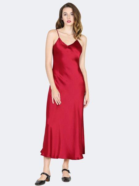 Sympathique Satin Slip Dress - Burgundy