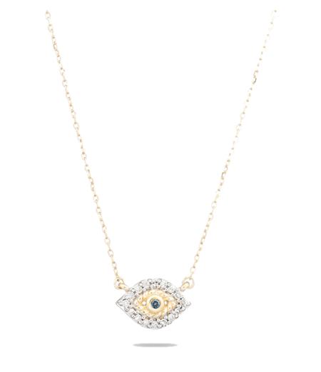 Adina Reyter Super Tiny Pave Evil Eye Necklace - Yellow Gold