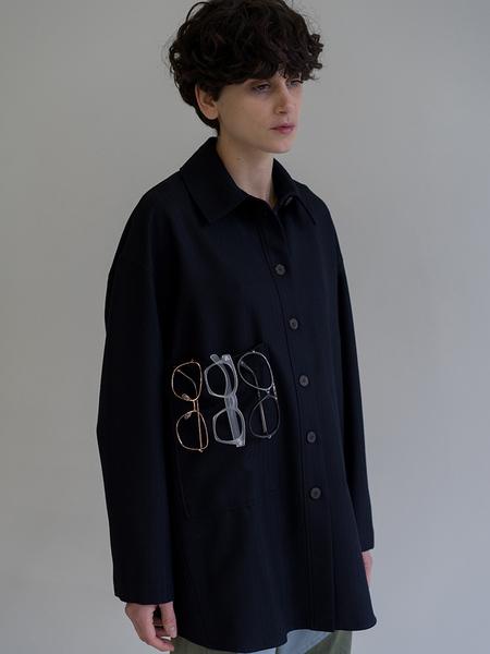 Unisex Studio Nicholson Bax Wool Overshirt - Navy Herringbone