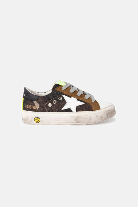 kids Golden Goose May Canvas Shoes - Green Camo/White Star