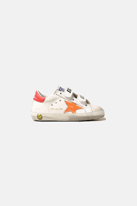kids Golden Goose Toddler Old School Shoes - White/Orange Flourecent Star