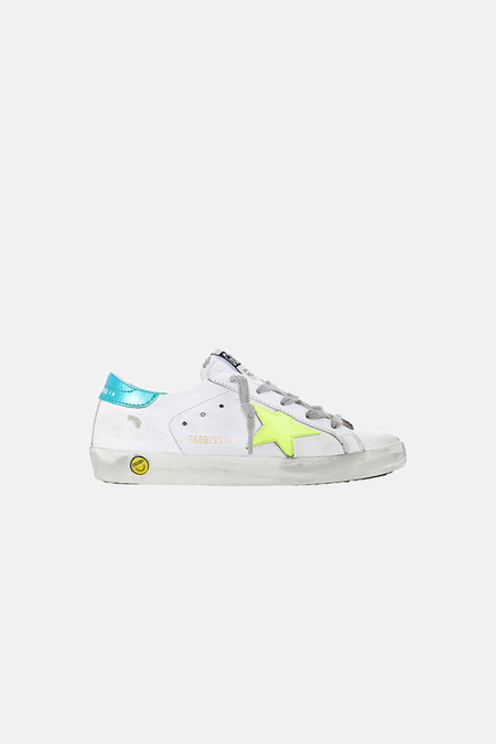 Kids Golden Goose Superstar Shoes - White/Turquoise Heel/Flourecent Star