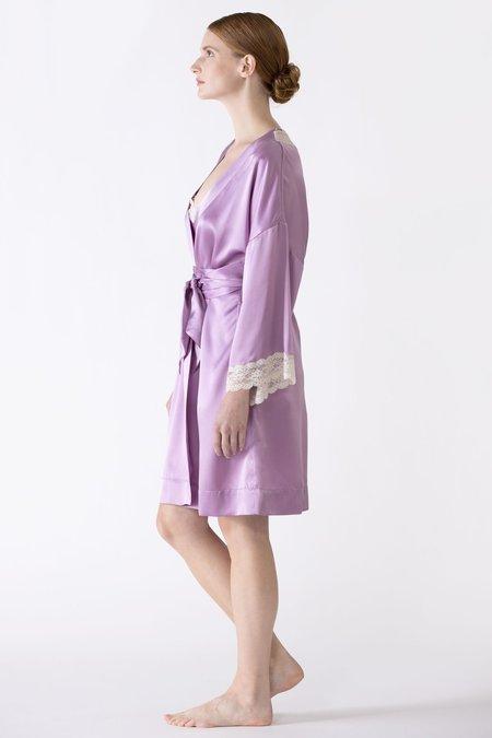 NK IMODE Gardenia Lace Trim Short Silk Kimono robe