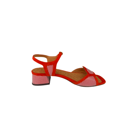 Chie Mihara Checkered Sandal - Red