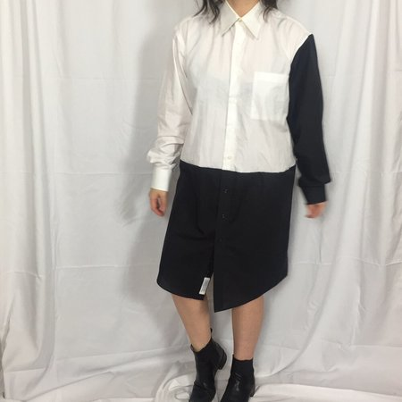 PRE-LOVED Unisex Button-up Longtop - white Colorblock