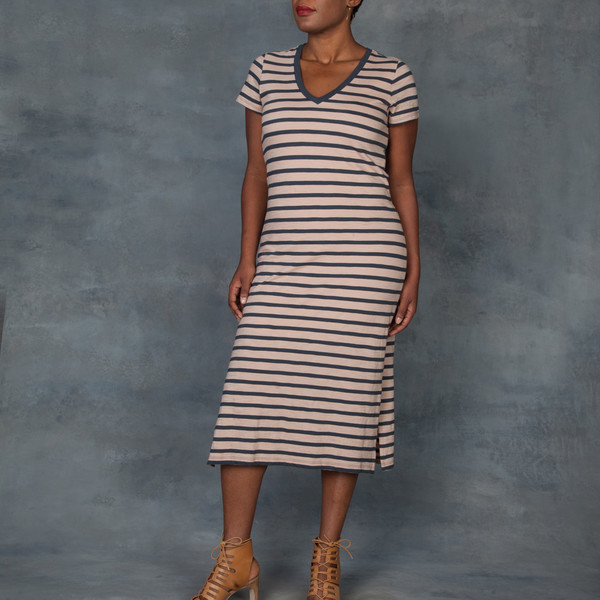 Skin Kara V Neck Maxi T-Shirt Stripped Dress