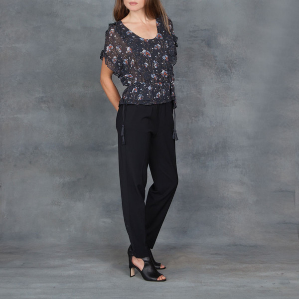 Ulla Johnson Lief Midnight Floral Print Ruffle Top