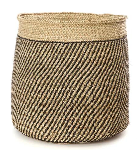 Swahili African Modern Iringa Stripe Weave Basket - Natural/Black