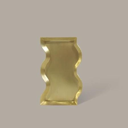 BEFORE MARCH Wavey candle tray - brass