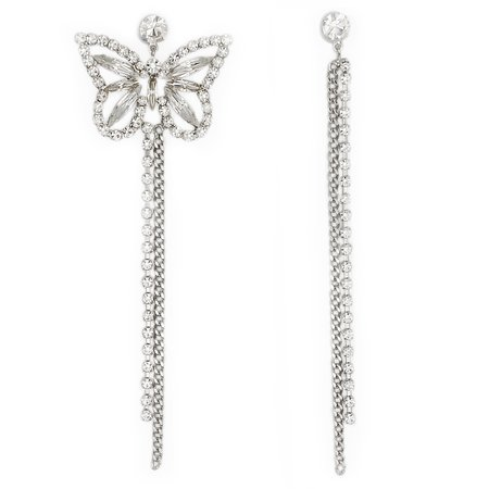 Joomi Lim Asymmetrical Large Crystal Butterfly Earrings - brass