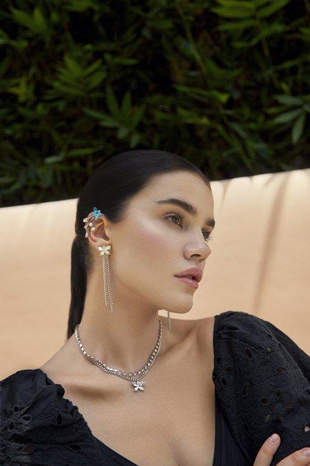 Joomi Lim Mini Crystal Butterfly chains Earrings - brass