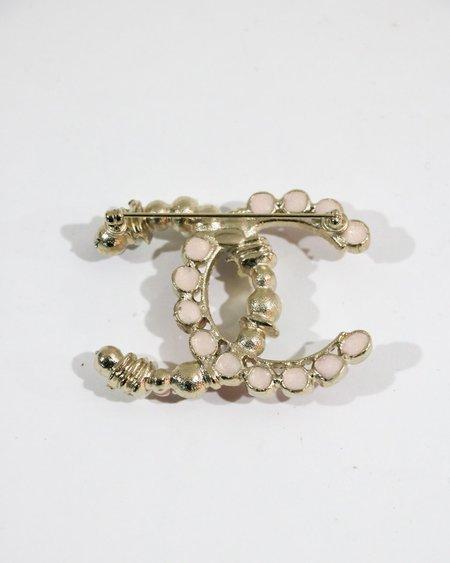 [pre-loved] Chanel Embellished Logo Brooch - Pink