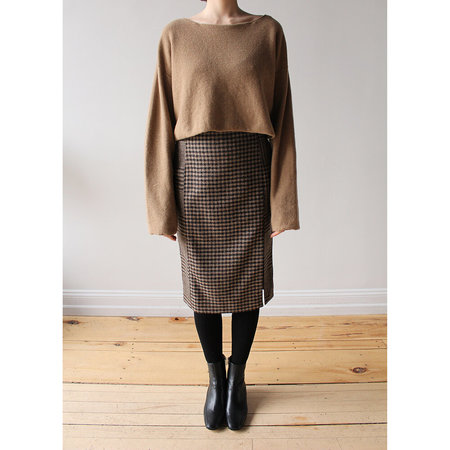 Hope Pipe Skirt - Beige Duo Check