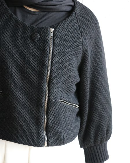 [pre-loved] Chloe Textured Knit Cropped Jacket - Black