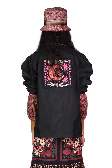 Anna Sui Moon and Stars Coach Jacket - BLACK MULTI