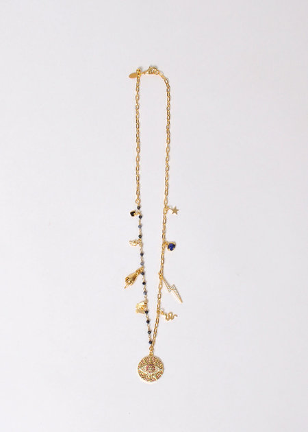 marion mckee jewelry 9 Charm Necklace - 16K gold plated