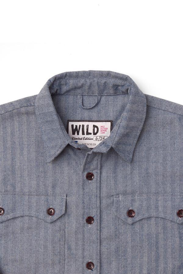 Men's Wild Outdoor Apparel WILD Lumberjack Flannel Herringbone Chambray