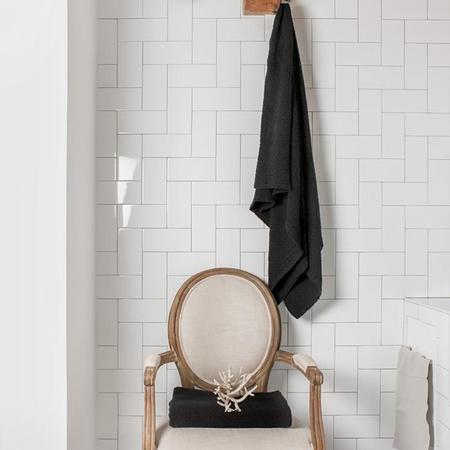 Autumn Paris Double Gauze Honeycomb Towel - Black