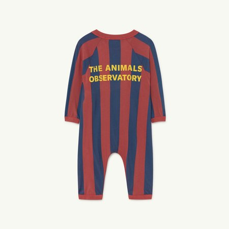 Kids The Animals Observatory Owl Jumpsuit - Red/Navy Stripe