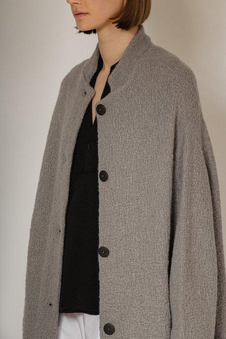 OYUNA Batu Cashmere and Wool Boucle Knit Coat - Shark
