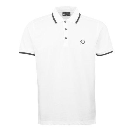 Ma Strum Tipped Polo Shirt - White
