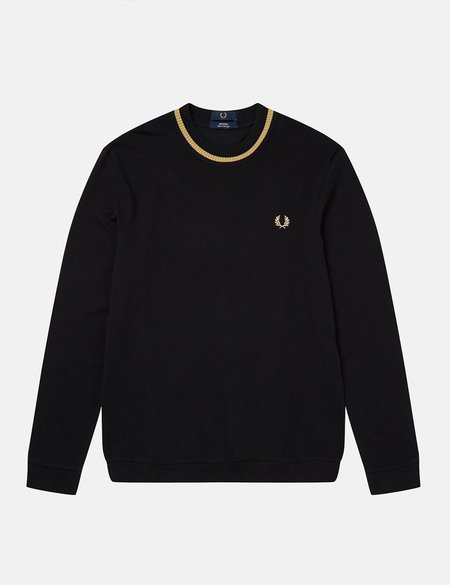 Fred Perry Re-Issue Crew Neck Long Sleeve Pique T-Shirt - Black