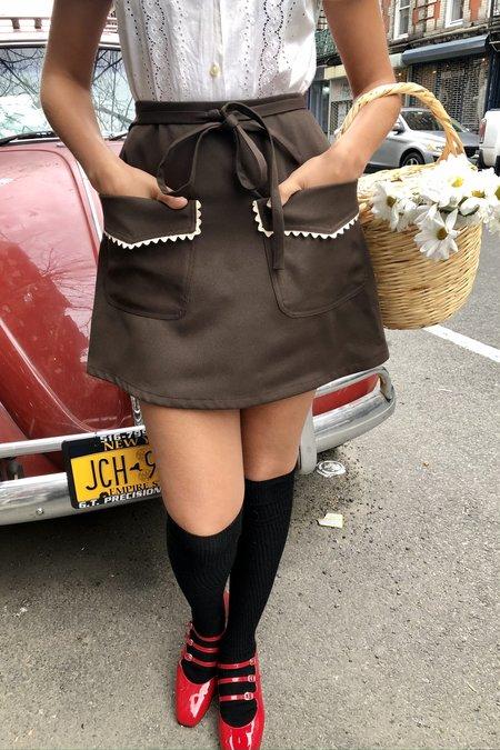 Cloak & Dagger Birkin Mod Rick Rack Mini Skirt - Chocolate