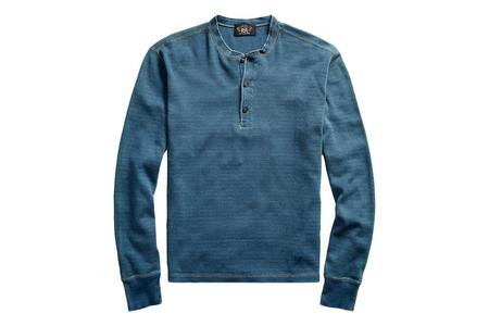 RRL Indigo Jacquard-Knit Henley - Washed Blue Indigo