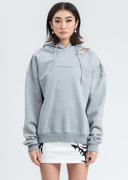 Ann Andelman Rhinestone Logo Cut Out Hoodie -  Grey