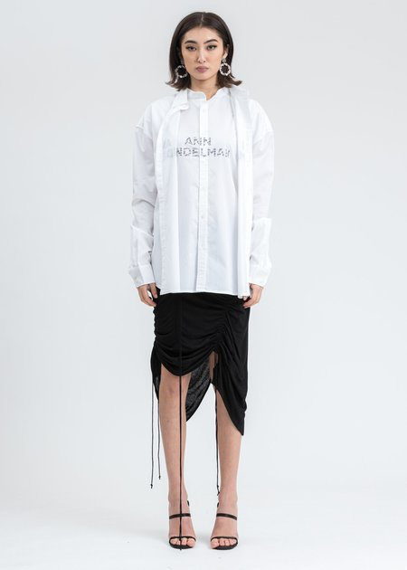 Ann Andelman Rhinestone Logo Shirt - White