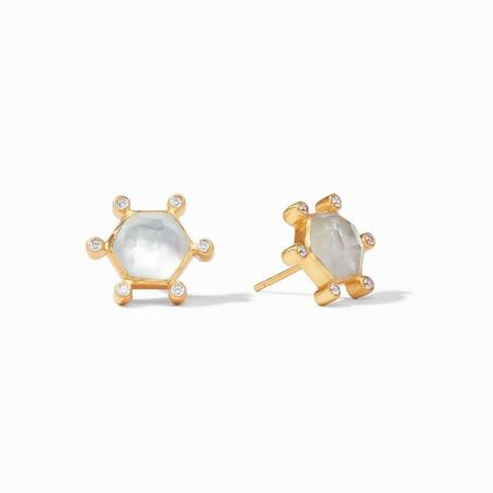 Julie Vos Cosmo Stud - Iridescent clear crystal/Gold