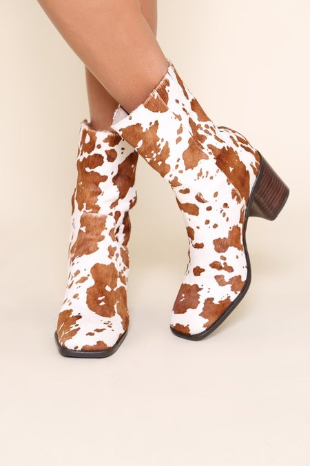 """""""INTENTIONALLY __________."""" PG Cow Hide boots - Brown Moo"""