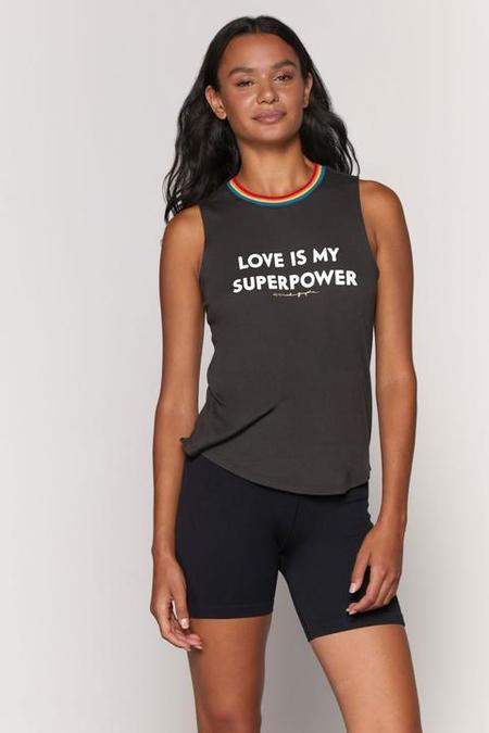 Spiritual Gangster Love is My Superpower Muscle Tank - Vintage Black