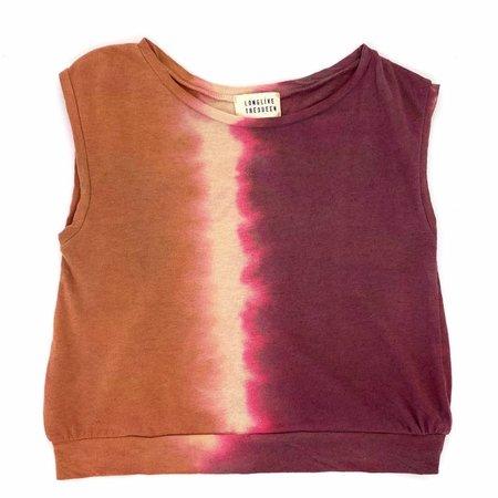 KIDS long live the queen tie dye canyon sleeveless tee - orange/white/purple