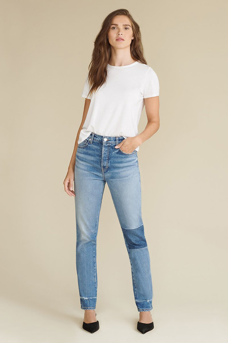 Veronica Beard Ryleigh High-Rise Straight Patched Jean - Atlas